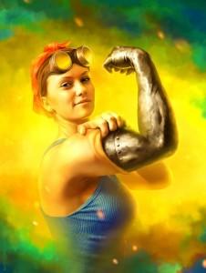 Mulher com braco literalmente de ferro